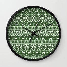Husky fair isle green and white minimal christmas dog pattern gifts huskies Wall Clock