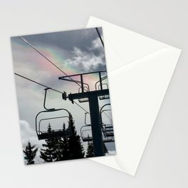Ski Lift Rainbow Sky \\ The Mountain Sun Rays \\ Spring Skiing Colorado Winter Snow Sports Stationery Cards