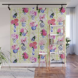 Peony Ginger Jars on Citron Trellis Wall Mural