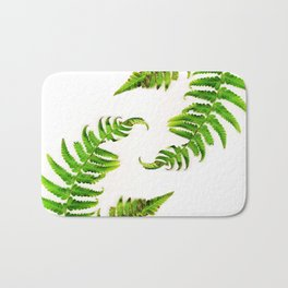 Fern on white - double Bath Mat