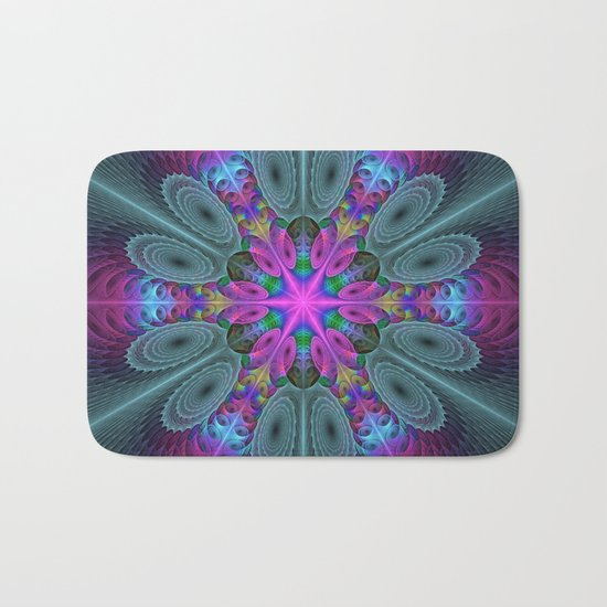Mandala From the Center, Colorful Fractal Art Bath Mat