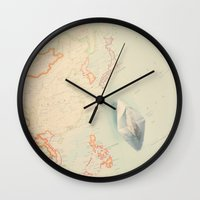 map Wall Clocks featuring map by Ingrid Beddoes