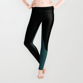 teal and black abstract Leggings