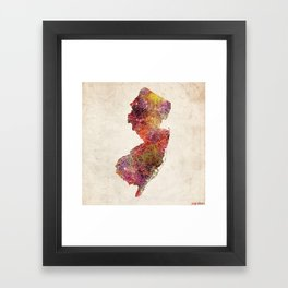 New Jersey map Framed Art Print