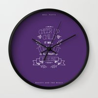 beauty and the beast Wall Clocks featuring Beauty and the Beast by Nikita Gill