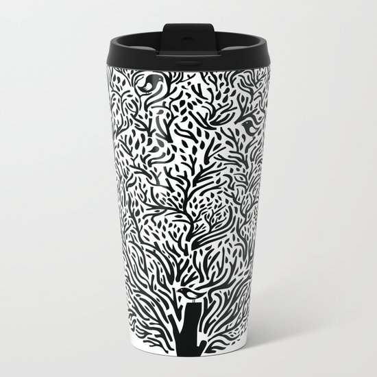Black and White Tree Metal Travel Mug