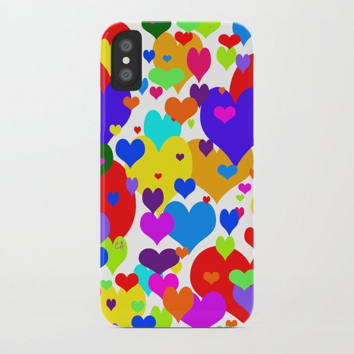 Beaucoup de coeurs de couleur iPhone Case