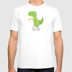 Tea-Rex White Mens Fitted Tee SMALL