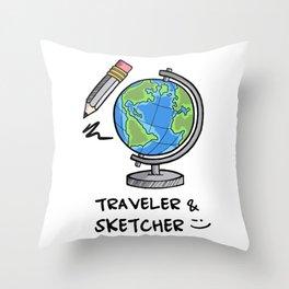 Traveler & Sketcher Throw Pillow