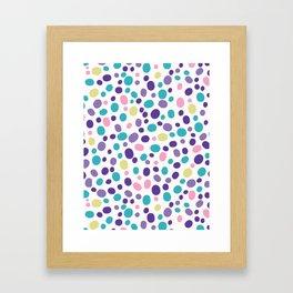 Bright Pebble Polka Dot Allover Hand Drawn Framed Art Print