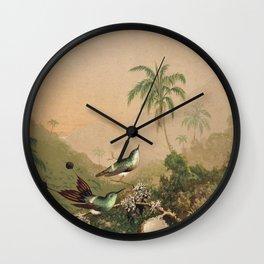 Martin Johnson Heade - Brazilian Hummingbirds 1864 Wall Clock