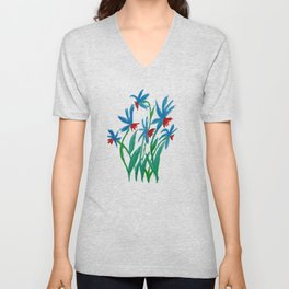 Hand painted watercolor floral blue and red flowers Unisex V-Neck