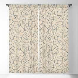 Calming Blue Abstract Crescent Shape Pattern on Beige - 2020 Color of the Year Chinese Porcelain Blackout Curtain