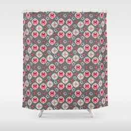 Butterfly And Flower Medallions - Graphite Color Shower Curtain