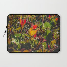 green leaves and orange leaves texture background Laptop Sleeve