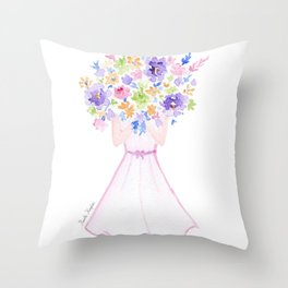 GIRL HOLDING BOUQUET OF FLOWERS / THANK YOU / CONGRATULATIONS / BIRTHDAY Throw Pillow