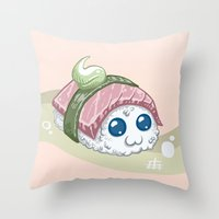 sushi Throw Pillows featuring Sushi by sw4mp rat