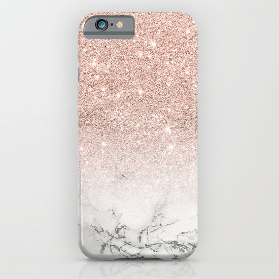 Modern faux rose pink glitter ombre white marble iPhone & iPod Case