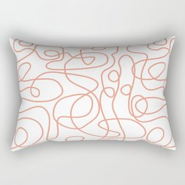 Doodle Line Art | Coral Lines on White Background Rectangular Pillow