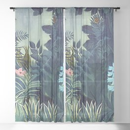 The Equatorial Jungle with Lions by Henry Rousseau Sheer Curtain