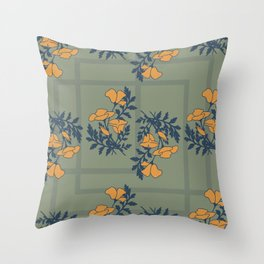 spring poppies pattern green Throw Pillow