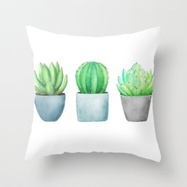 Succulent and Cacti Potted Garden Trio Throw Pillow