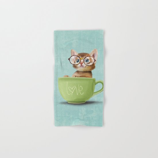 Kitten with glasses Hand & Bath Towel
