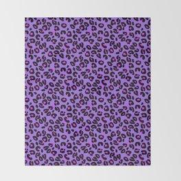 Bright Purple Leopard Spots Animal Print Pattern Throw Blanket