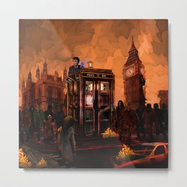 10th Doctor who trapped in the zombie land iPhone 4 4s 5 5s 5c, ipod, ipad, pillow case and tshirt Metal Print