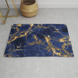 Blue Majestic Marble With 24-Karat Gold Hue Veins Rug