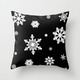Snowflakes | Black & White Throw Pillow