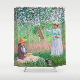Claude Monet - In the Woods at Giverny, Blanche Hoschedé at Her Easel with Suzanne Hoschedé Reading Shower Curtain
