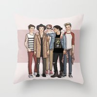 one direction Throw Pillows featuring One Direction by vulcains