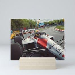 Ayrton Senna driving his MP4/4 Mini Art Print
