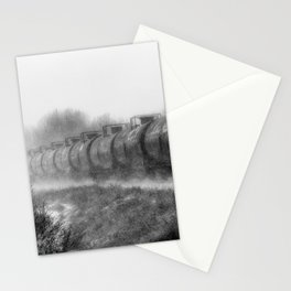 Winter Locomotion Black and White Stationery Cards