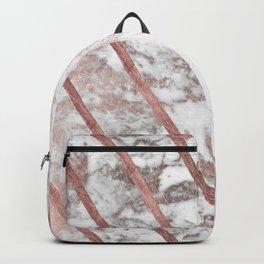Modern faux rose gold white geometrical marble stripes Backpack