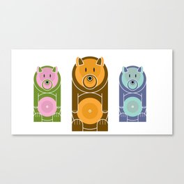Bear With The Mod Target Belly Canvas Print