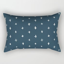 Navy Cross Pattern Rectangular Pillow