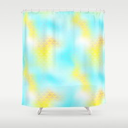 Cyan Blue and Yellow Mermaid Tail Abstraction. Magic Fish Scale Pattern Shower Curtain