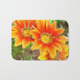 Vibrant Yellow and Vermillion Gazania Rigens Flower Bath Mat