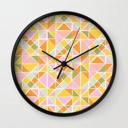 Cute Citrus Geometric Quilt Design Pattern Wall Clock