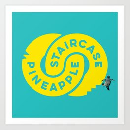 PineappleStaircase   Official Logocolor 2015 in Turquoise/Yellow + Honu Art Print