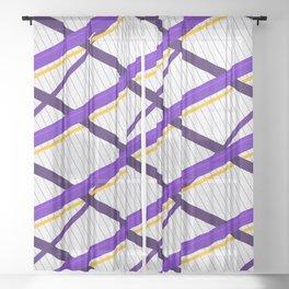 Deco Stripes Purple Sheer Curtain