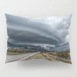 Mothership - Intense Autumn Storm Advances Over Oklahoma Plains Pillow Sham