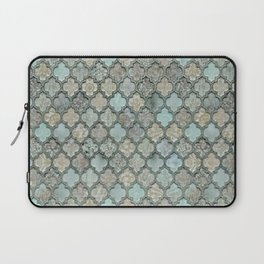 Old Moroccan Tiles Pattern Teal Beige Distressed Style Laptop Sleeve