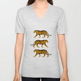 Tigers (Dark Green and Marigold) Unisex V-Neck