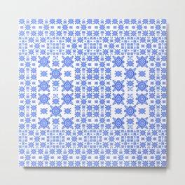 Classic Blue and White Miniature Mandala Print Metal Print