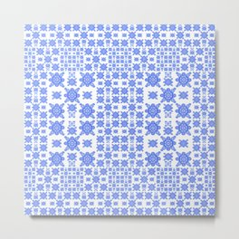 Classic Blue and White Miniature Mandala Print Metal Print