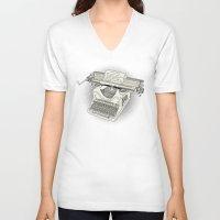 typewriter V-neck T-shirts featuring typewriter by Borja Espasa