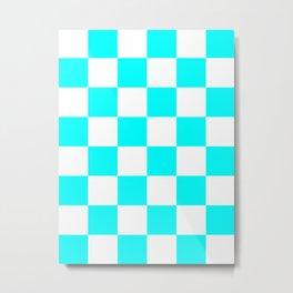 Large Checkered - White and Aqua Cyan Metal Print